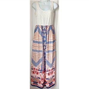 As You Wish Sleeveless Lace Printed Maxi Dress